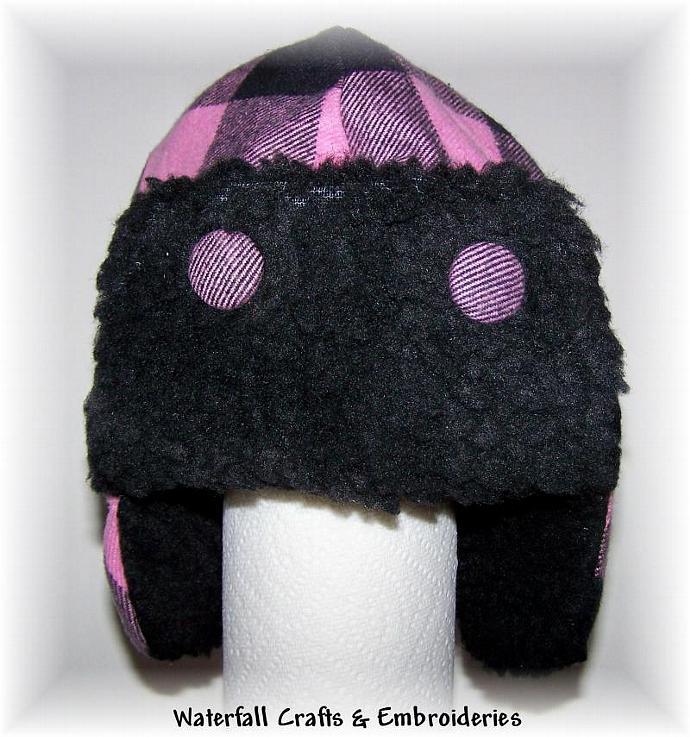 Childs Pink & Black Winter  Aviator Hat