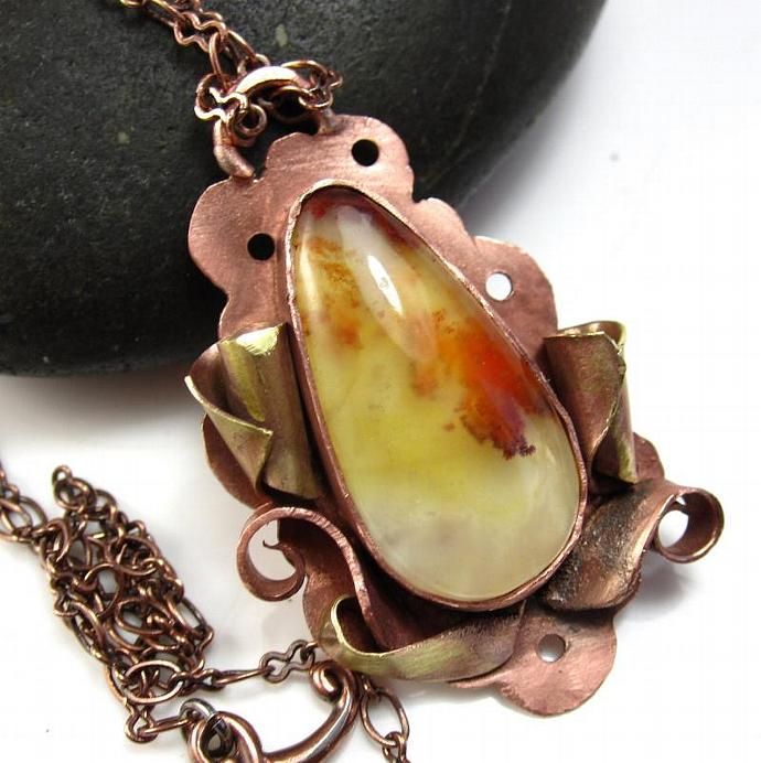 Carey Mountain Plume Agate Necklace