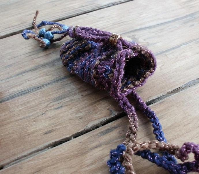 Spirit Amulet Treasure Bag in Purple Blue and Gold Knit