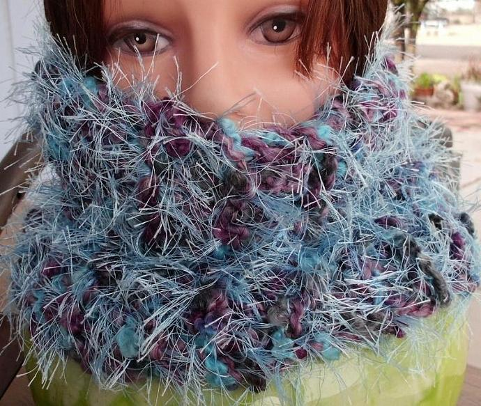 Fluffy Blue and Purple Cowl, or Hat, or Muff