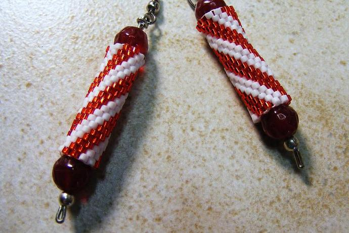 Christmas Stick Candy Peyote Stitch Earring