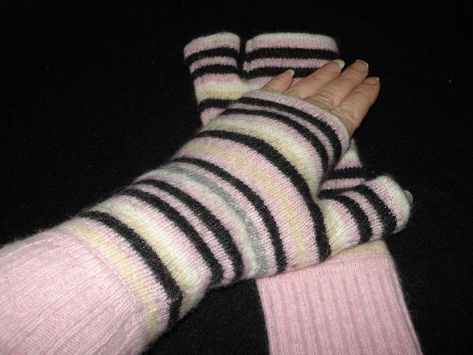 Felted Wool Striped Fingerless Mittens