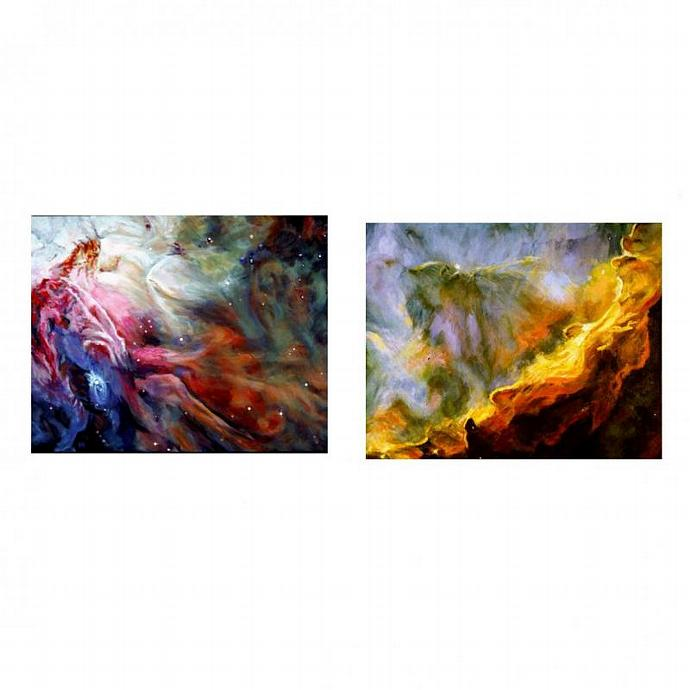 The Orion And Swan Nebulas:  A Paired  Set Of Paintings