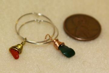 Wine Glass Charms- Silver, Gold, Copper wrapped with Red Coral & Green