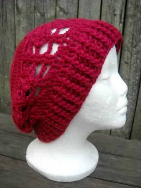 Crocheted Lacy Slouchy Hat in Red