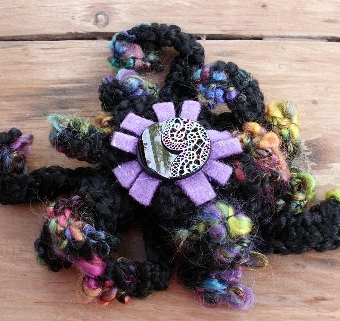 Big Black Crocheted Brooch Pin with Rainbow Tips