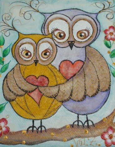 Original Mixed Media Owl Painting by Val Zdero