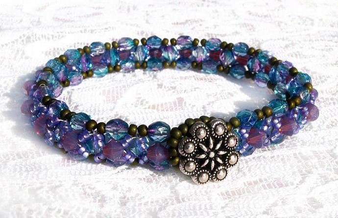 Swarovski crystal Fire polish beads bracelet silver flower button purple opal