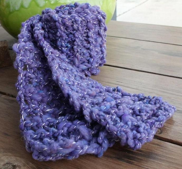 Purple Wool Scarf with White Flecks