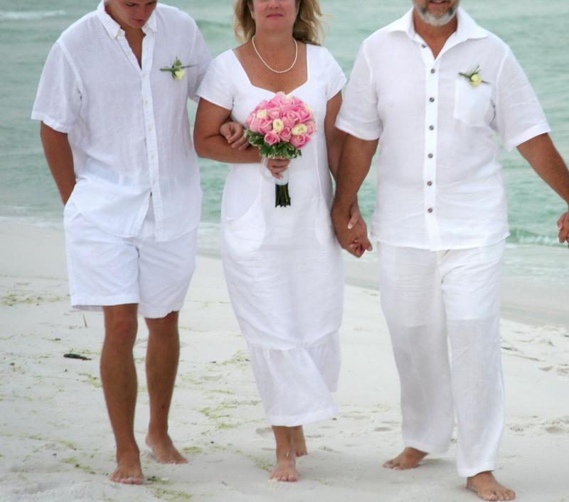 Beachwear white linen casual mid length wedding by for White linen dress for beach wedding