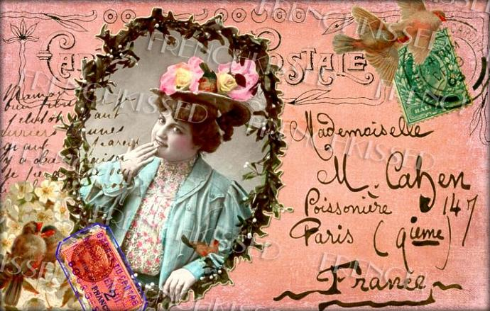 Digital Scan ORIGINAL Collage Pink Victorian CHRISTMAS Red Birds French