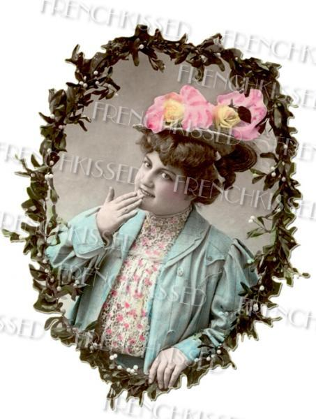 Plump Victorian Lady CHRISTMAS New Year Antique French postcard Pink HAT
