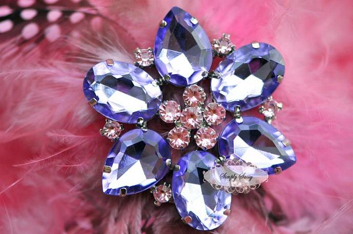 RD113 BIG LAVENDER Rhinestone Embellishment Button Brooch - wedding accessories