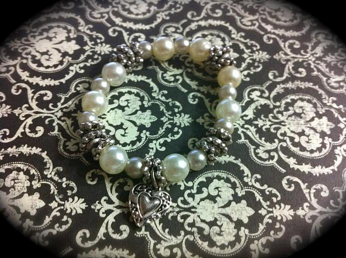 Childs Pearl and Tibetan Silver Bracelet