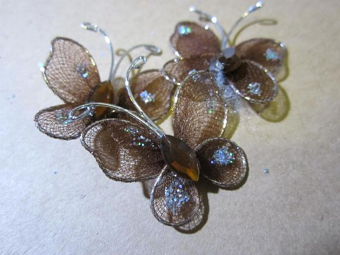 "12 - 1"" Brown Organza Butterfly"