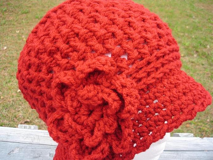 Handcrafted Waffle Stitch Cloche/Bucket Hat w/Detachable Flower - Cranberry