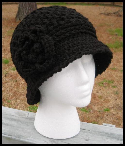 Handcrafted Waffle Stitch Cloche/Bucket Hat w/Detachable Flower - Pure Black