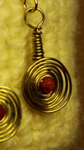 Earrings- All Wound Up- Brass & Red Coral