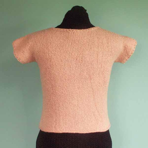 Pink Cotton Short Sleeve Sweater - Size Small