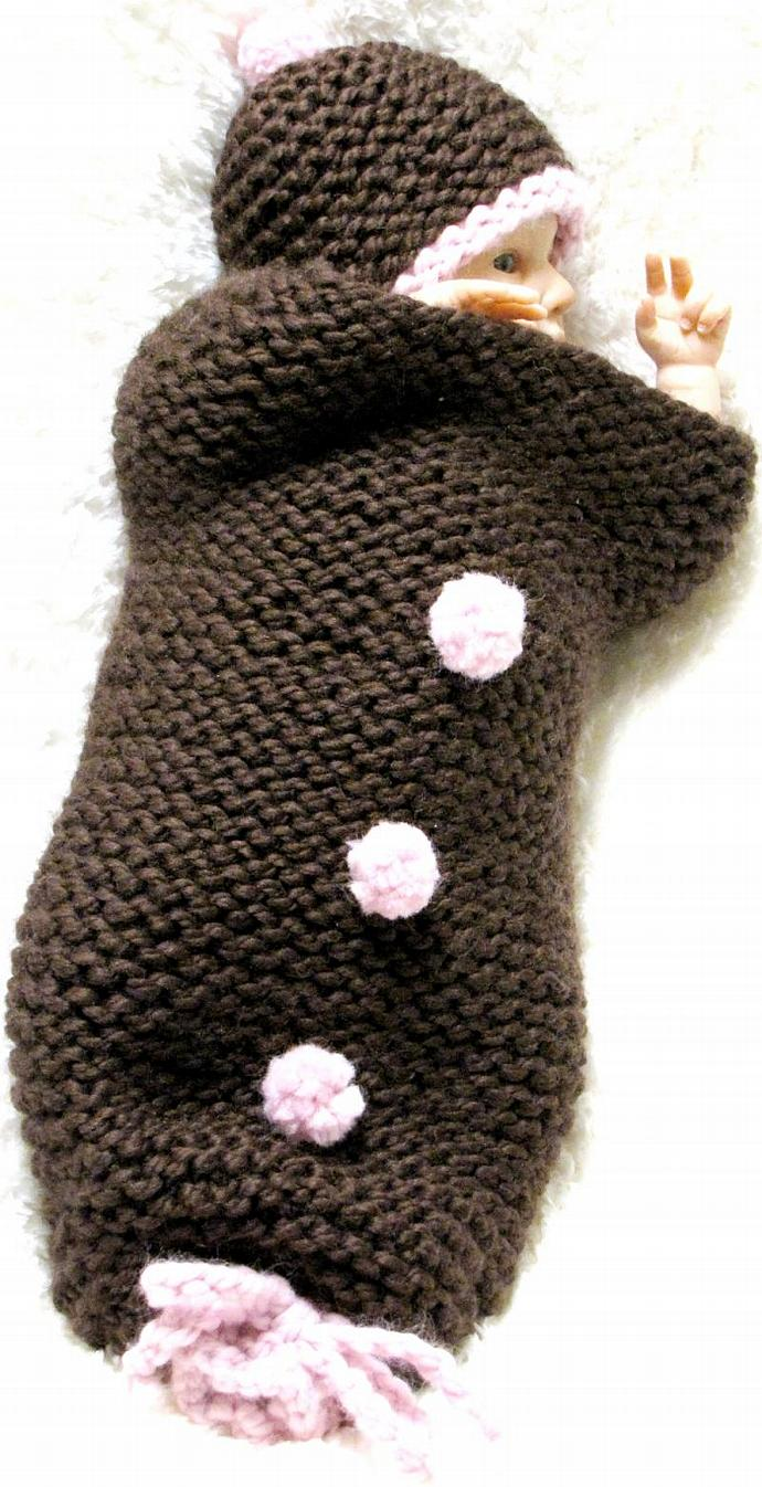 Baby Cocoon and Hat, Cherry Chocolate Knitting Pattern, Permission to sell