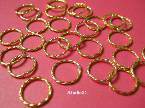25 pcs Bright Gold Finish Round Texture Link 12mm