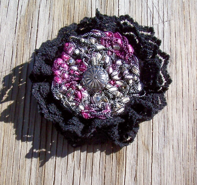 Crochet Black Lace Vintage Button and Beads Brooch