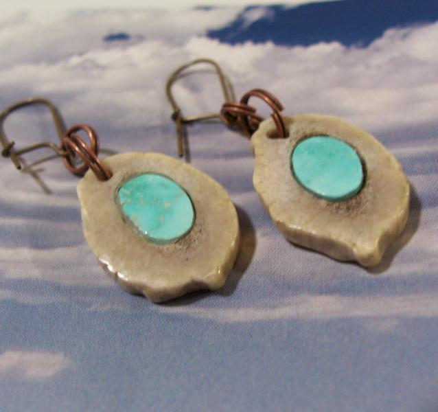 Kingman Turquoise Deer Antler Inlaid Earrings