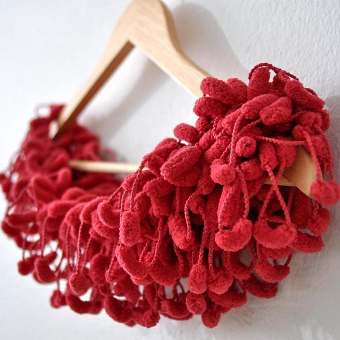 Red crochet pompon scarves