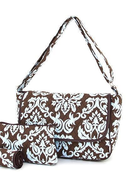 Monogrammed Damask Diaper Bag