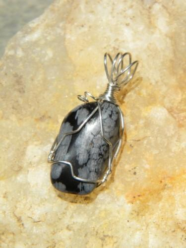 Snowflake Obsidian Silver Wire Wrapped Pendant