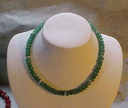 Emerald Green Faceted Quartz Necklace