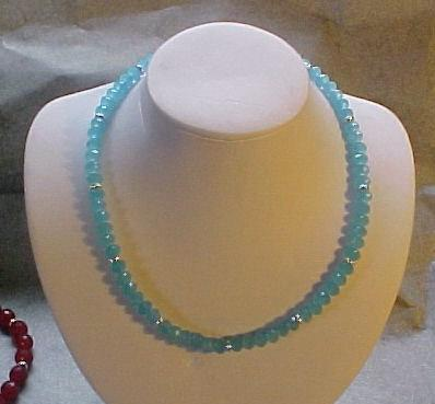 Faceted Blue Topaz Bead Necklace