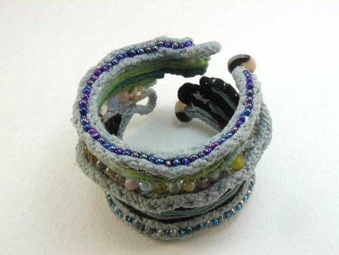 two button bead fantasy cuff bracelet extra wide anti clastic forms remote