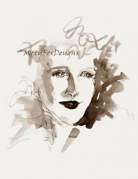 Art -- She Was Blonde, Portrait, Sexy, Soft Curls, Drawing, Pen Ink,