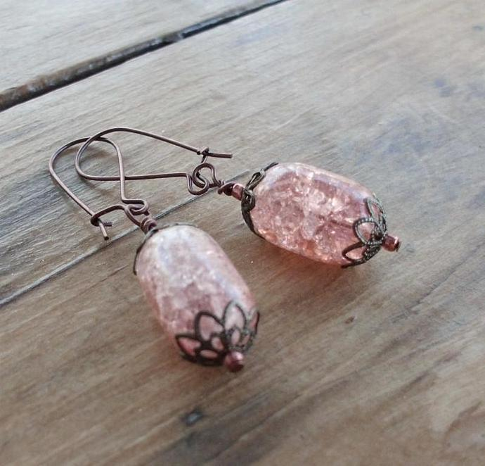 Pink Crackled Glass Vintage Style Earrings