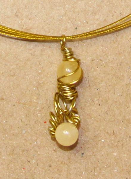 Necklace & pendant-OOAK-Subtly Steampunk- yellow brass with cream carnelian
