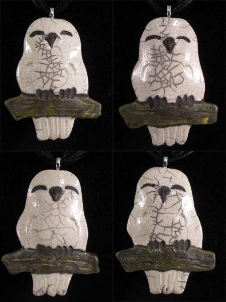 Raku Owl Clay Pottery Pendant Necklace