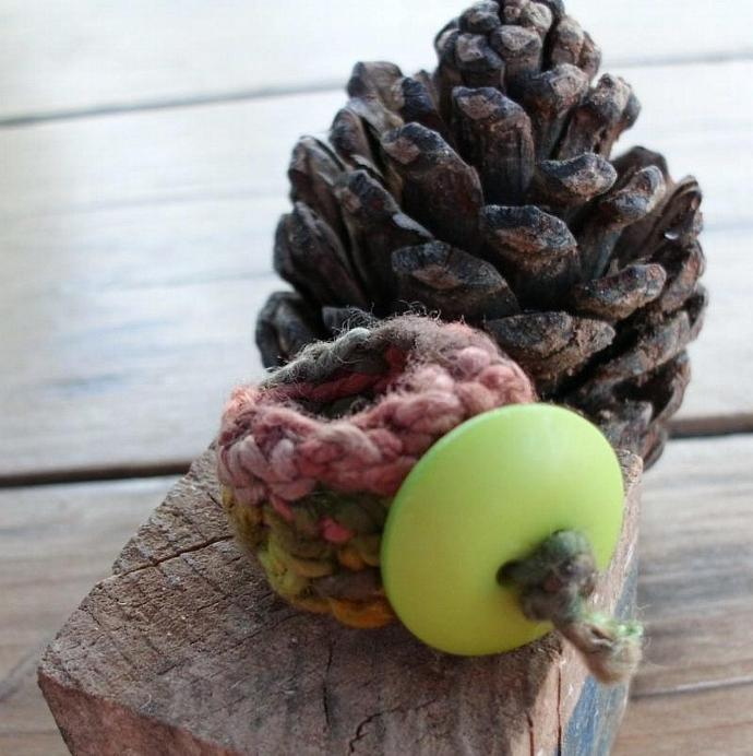 Crocheted Ring with Green Button