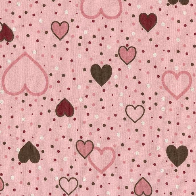 HEARTS n DOTS on Pink Cotton Baby Rib Knit Fabric, by the Yard