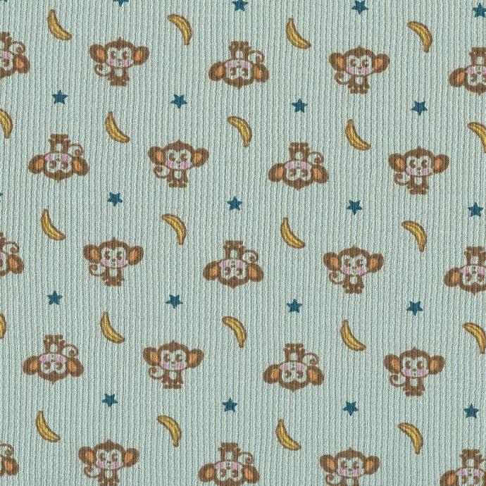 Monkey and Bananas on Dusty Blue Cotton Thermal Waffle Knit Fabric, by the yard