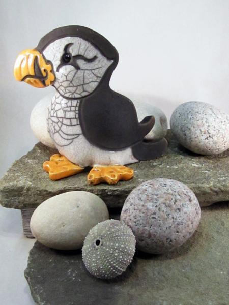 Raku Pottery Clay Puffin (Standing) Crackle Glaze ceramic bird sculpture