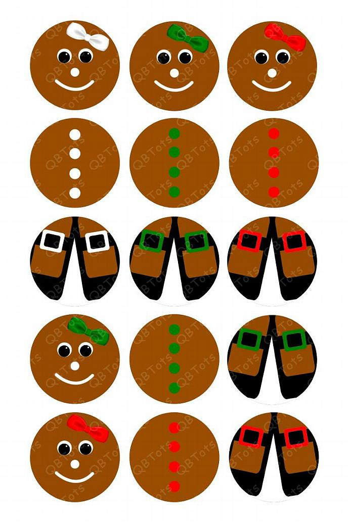 Gingerbread Ornament Digital Image Collage 1 inch Circles