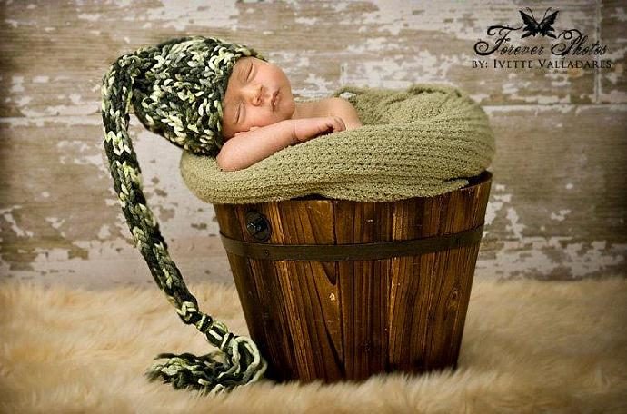 "Newborn Woolly Long Tail Elf Hat in ""Mojito"""