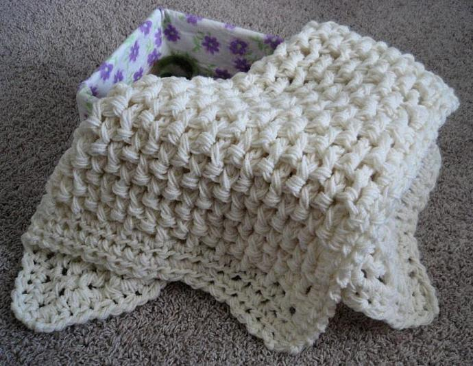 Newborn  Wafflestitch Wrap/ Mini Throw -Cream -other colors upon request
