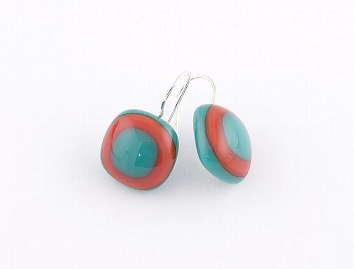 Fused Glass Drop Earrings in Teal and Red
