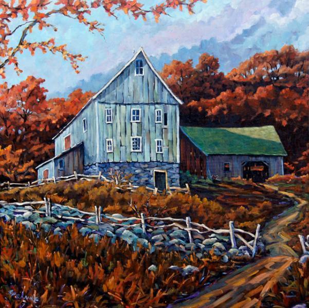 Still Standing Farm Scene Original Large Oil Painting by Prankearts