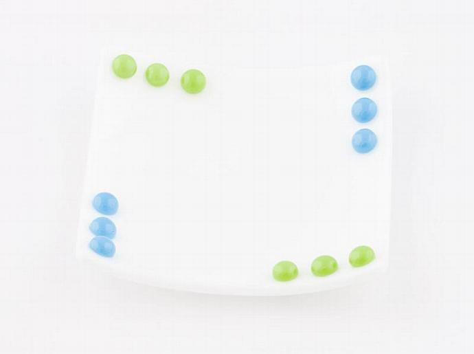 Fused Glass Dish Set in White