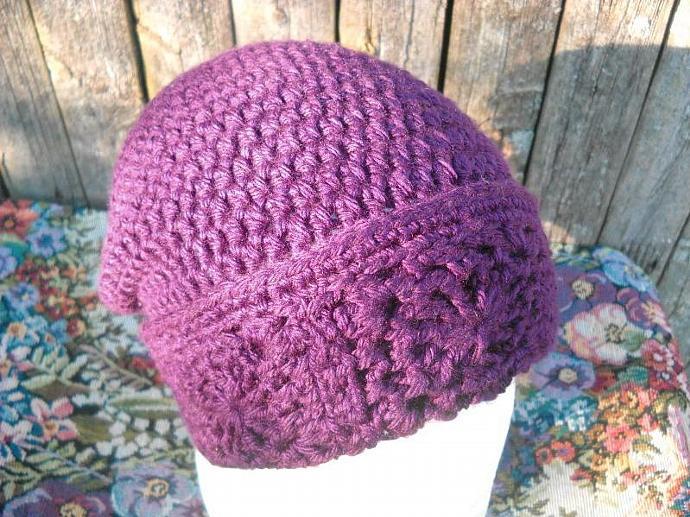 Crocheted Slouchy Hat in Grape