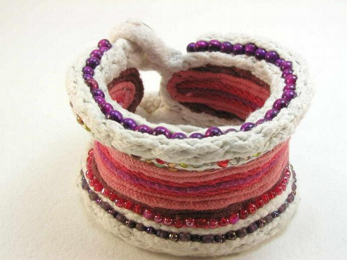 modern primitive style cotton cuff bracelet with beads 1673