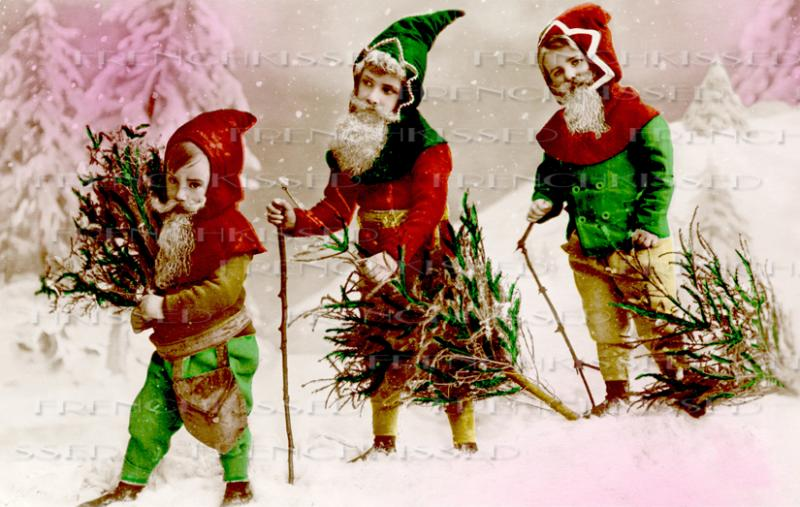 Vintage Christmas ELVES French Postcard by FrenchKissed on Zibbet